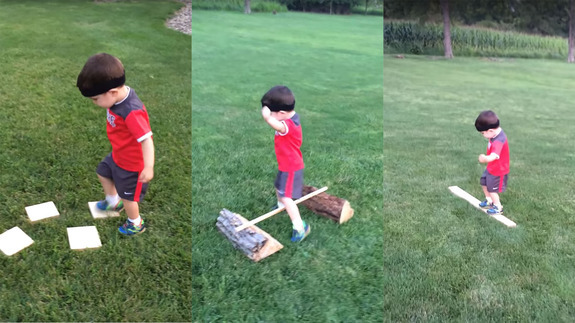 Little kid adorably dominates homemade obstacle course