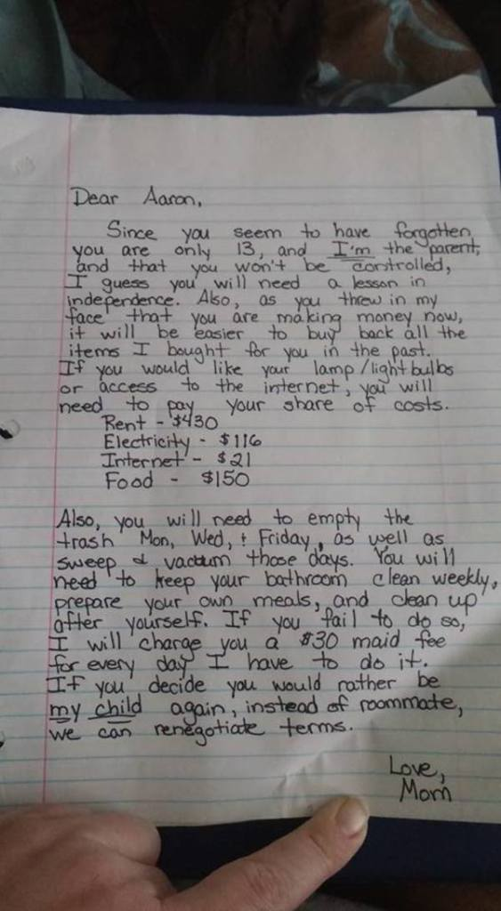 Mom   s letter to 13-year-old son goes viral, internet loves her tough-love approach