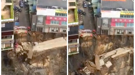 Watch the ground fall away as massive sinkhole opens in China