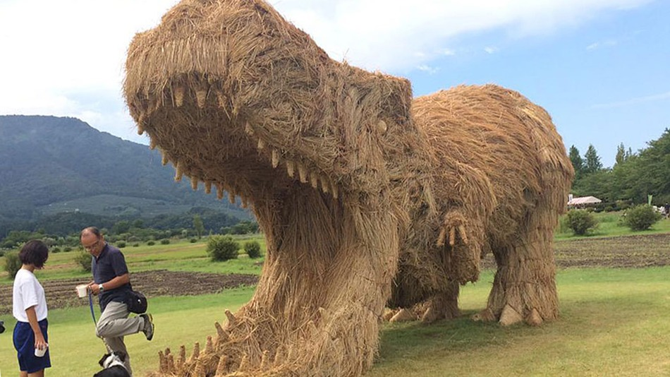 Giant straw dinosaur sculptures take over Japanese field