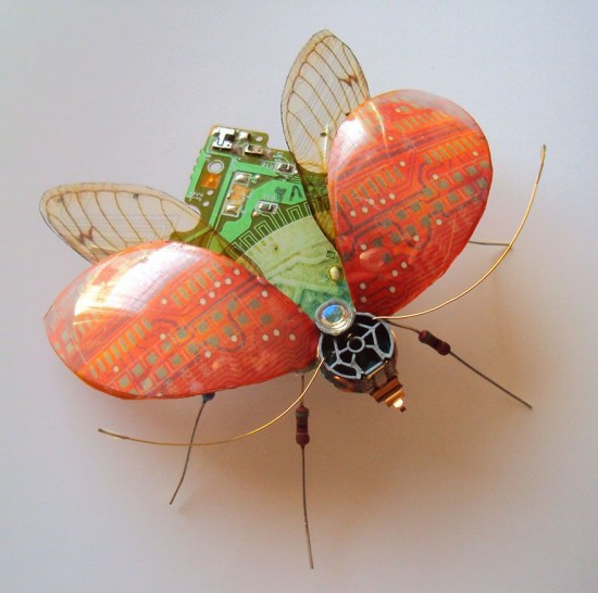 Artist turns old circuit boards and electronic components into beautiful winged insects