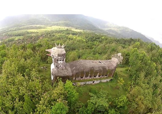 "Mysterious abandoned ""chicken church"" built in the indonesian jungle"