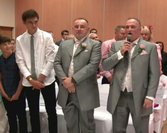 Groom sings Elvis as bride walks to altar, then a strange voice is heard and guests get chills