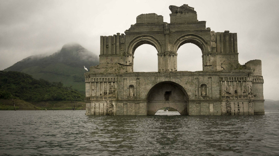 Colonial-era church emerges from the water in a reservoir in Mexico