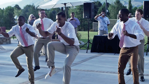 Groom's reception dance is a stanky leg tribute to love