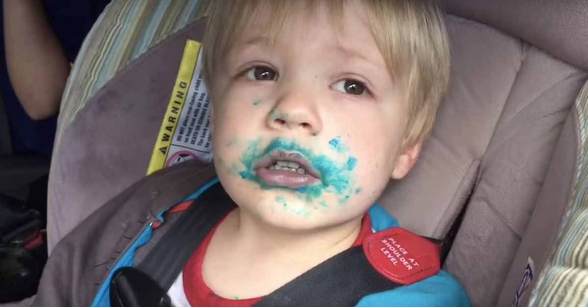 Despite what you may think, this kid did not just eat a cupcake